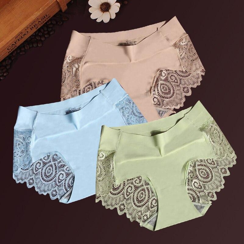 Women Ice Silk Panties Seamless Briefs Set Sexy Lace Underwear Low Waist Patchwork Lingerie Underpants 3pcs/lot #F
