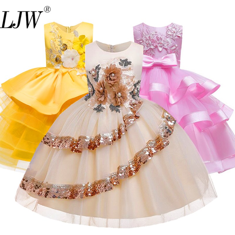 Flower Girl Dress For Girls Tutu Kids Clothing Elegent Hand Organza Girls Dresses For Children Princess Party Custumes 2-10 Year