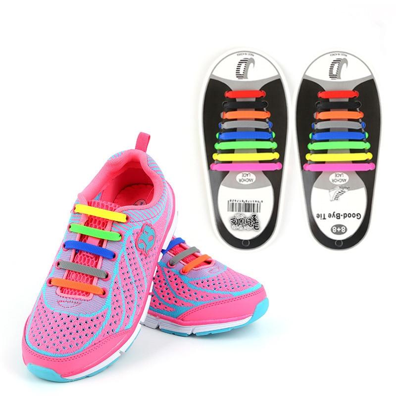 16Pcs Lazy Shoe Laces Unisex No tie Shoelace Silicone Elastic Sneakers Hot Sale