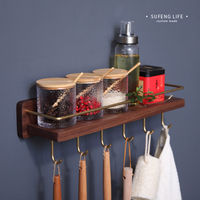 Brass and Black Walnut Wood Seasoning Storage Rack Kitchen Multi function Racks Wall Hanging Corner Shelf with Hooks Spice Rack