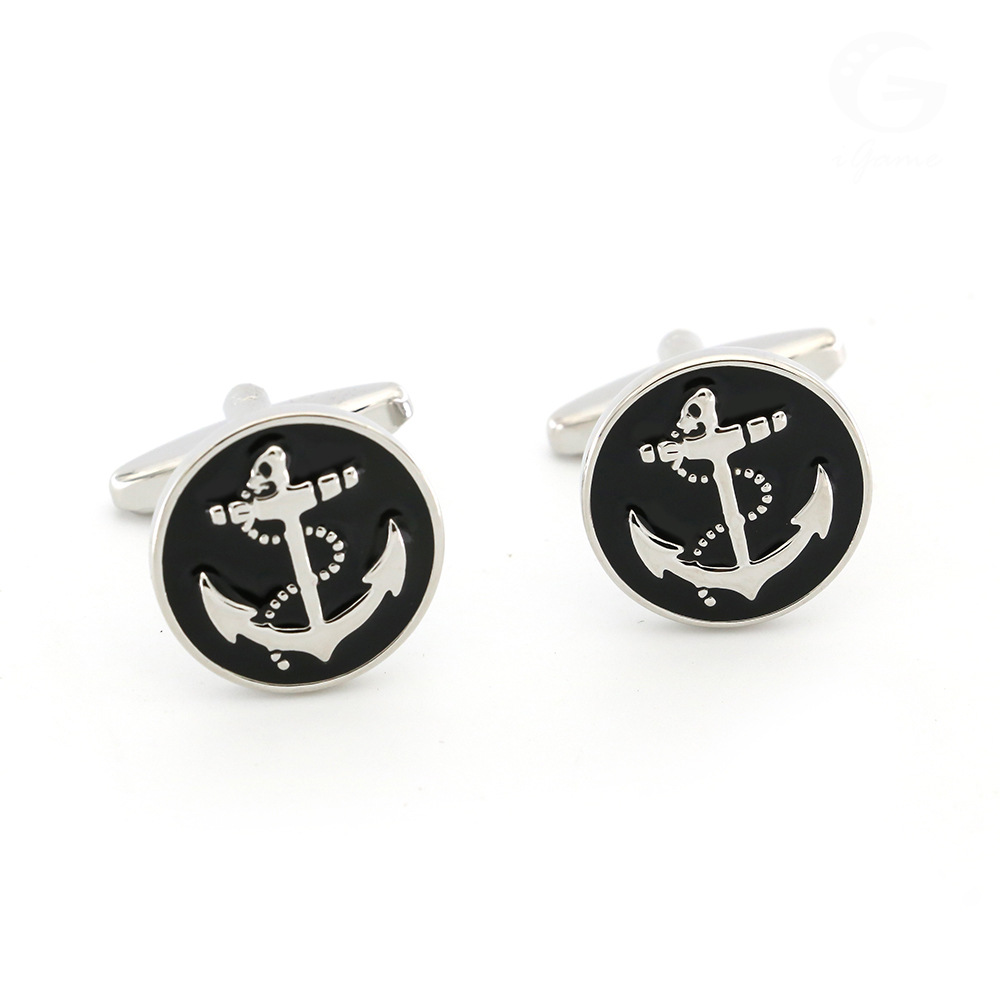 Pictographic Series Circle Black Background Boat Anchor Cufflinks Fun Sleeve Nail French Button High Quality Currently Available