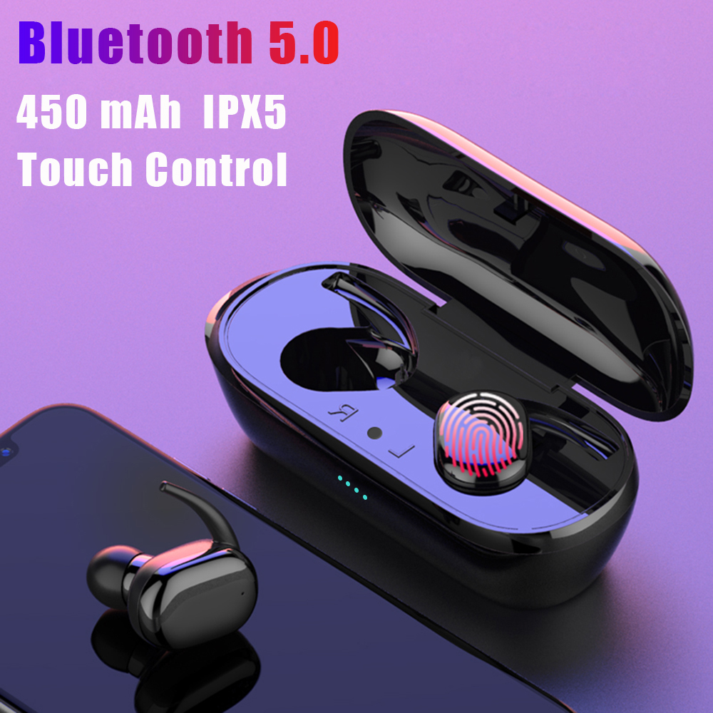 Tkey Y30 TWS Fingerprint Touch Bluetooth 5.0 Earphones Wireless 4D Stereo Headphones Active Noise Cancelling Gaming Headset