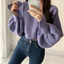 Женский вязаный свитер популярного цвета осенне зимний свободный
