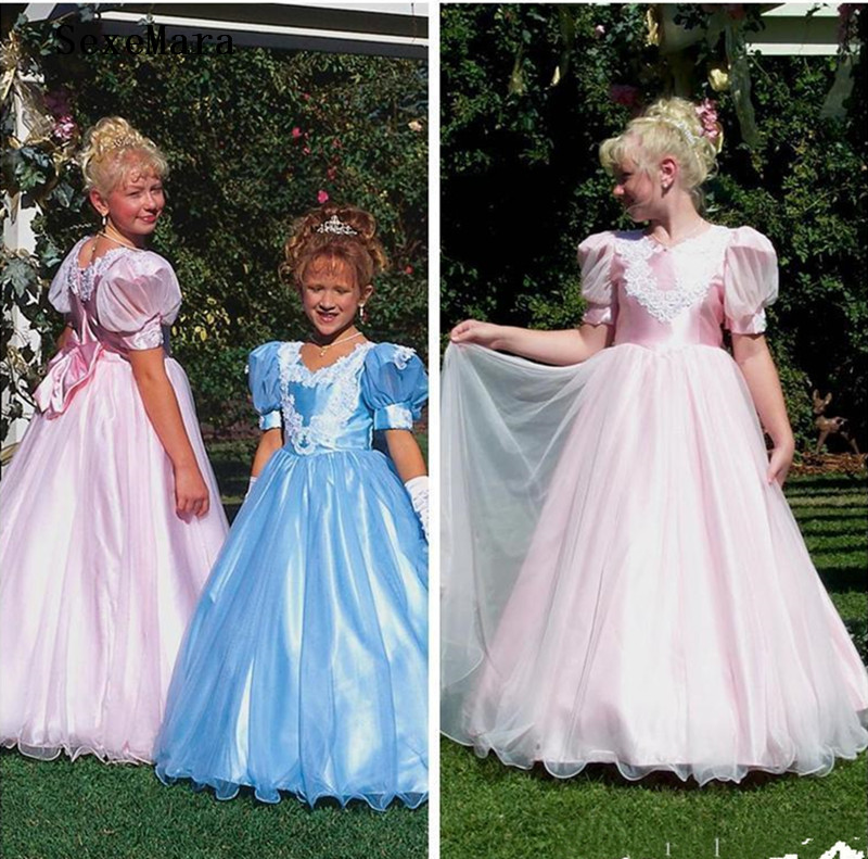 Vintage A-Line O Neck Girls Clothes With Bow Satin Tulle Long Baby Girls Dress For Wedding Kids Birthday Party Gown Size 2-14Y