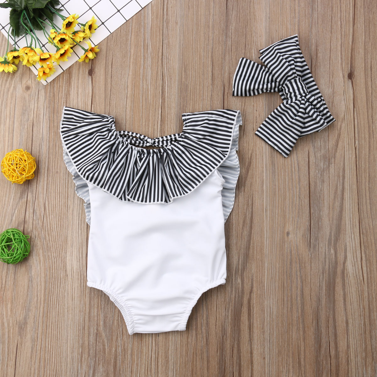 LNGRY Infant Kids Baby Girls Cartoon Striped Bathing Swimsuit Swimwear One Piece Outfit Clothes