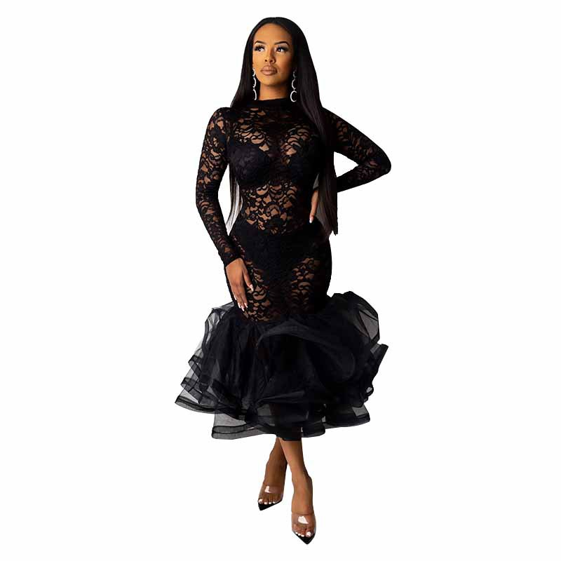 H1fce5a23b6b944afbae4f26aef70d1dfC - Black Organza Ruffle Sheer Lace Party Dress Spring Mock Neck Long Sleeve Mermaid Evening Gown Maxi Club Party Dress Vestido