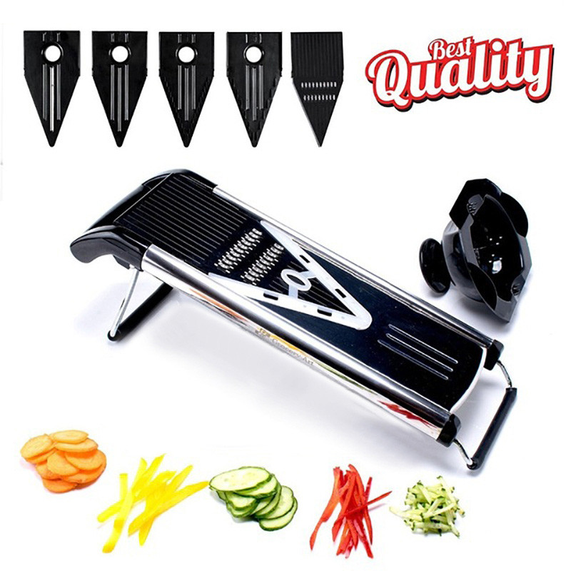 VOGVIGO Professional <font><b>Multifunctional</b></font> V-Slicer Mandoline Slicer <font><b>Food</b></font> <font><b>Chopper</b></font> Fruit & Vegetable Cutter with 5 Blades <font><b>Kitchen</b></font> <font><b>Tools</b></font> image