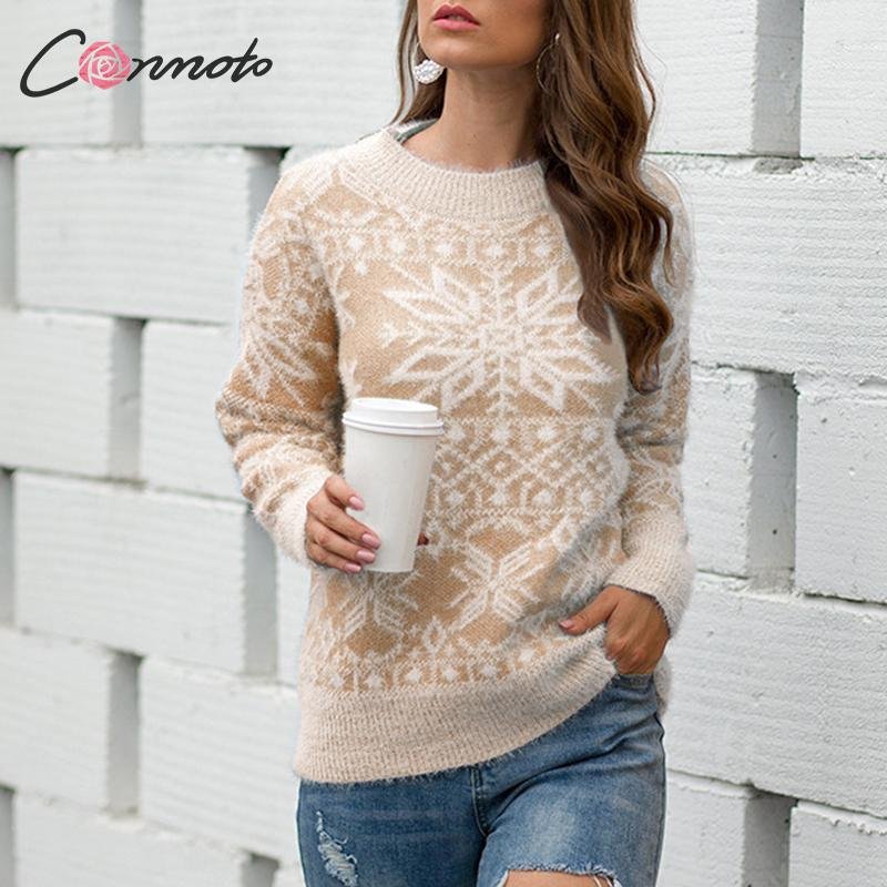 Conmoto Women Christmas Sweaters 2019 Autumn Winter Fashion High Street Long Sleeve Pullovers Sweater Female Knitted Warm Jumper