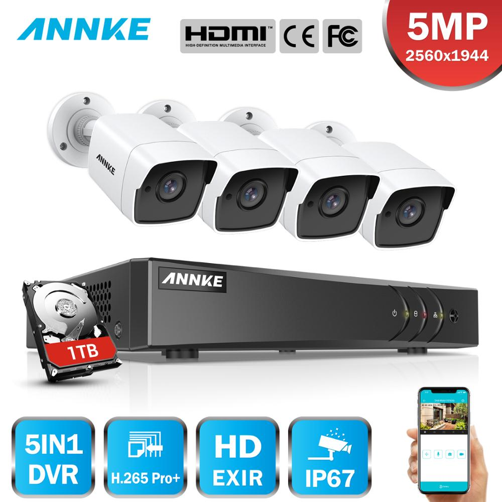 ANNKE H.265+ 5MP Ultra HD 8CH DVR CCTV Security System 4PCS IP67 Weaterproof Outdoor 5MP Camera  Video Surveillance Kit