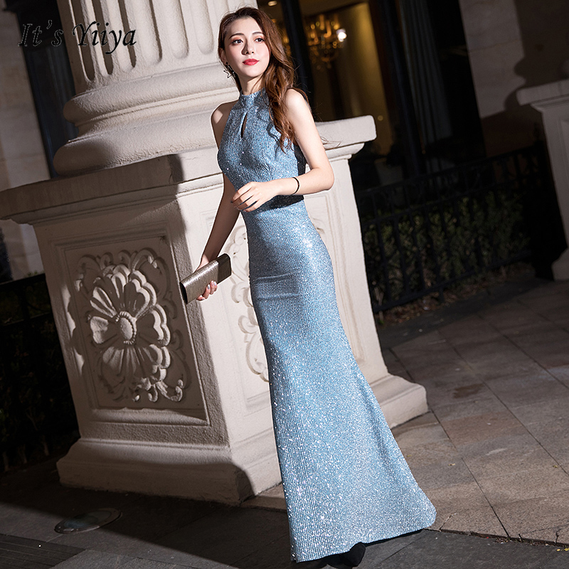 It's Yiiya Evening Dress Sequins Sky Blue Halter Formal Gowns K104 Plus Size Robe De Soiree Long For Women Party Dresses 2020