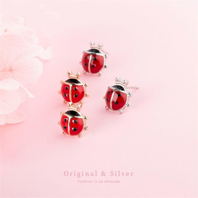 2020 Drop Shipping 925 Real Silver Cute Romantic Animal Ladybug Stud Earrings For Girls Kids Mini Golden Birthday Gift Ear Studs