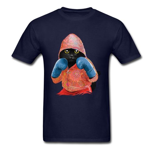 Muay Thai Fitness Boxer chat hommes drôle Design hauts t-shirt Deadlift musculation o-cou ostern jour 100% coton tissu t-shirt homme