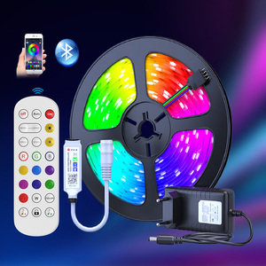 25M 30M LED Strip Light RGB 5050 SMD Flexible Ribbon Fita Bluetooth Led Light Strip RGB 5M 10M 15M Tape Diode DC 12V+ Remote +Ad