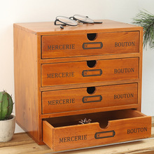 Desktop Wooden Box with Drawer Vintage Countertop Chest Of Drawers Jewelry Cosmetics Organizer Home Decoration Accessories