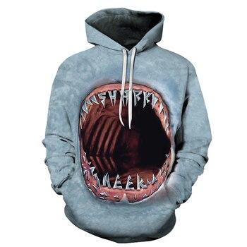 Funny 3D Big Mouth Print Men Hooded Pullover Sweatshirt Casual Long Sleeve Hoodie Unisexual Outerwear Streetwear Hip Hop Hoody
