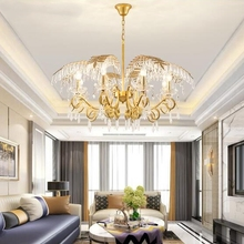 Креативный светодиодный хрустальный канделябр, золотые листья, арт-деко, домашнее освещение для гостиной, детской спальни, бара, современная кухонная Подвесная лампа
