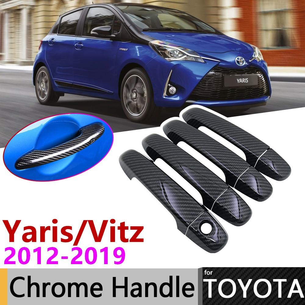 Black Carbon Fiber Door Handle Cover For Toyota Yaris XP130 Vitz 2012~2019 2016 2017 2018 Accessories Stickers Trim Set Chrome