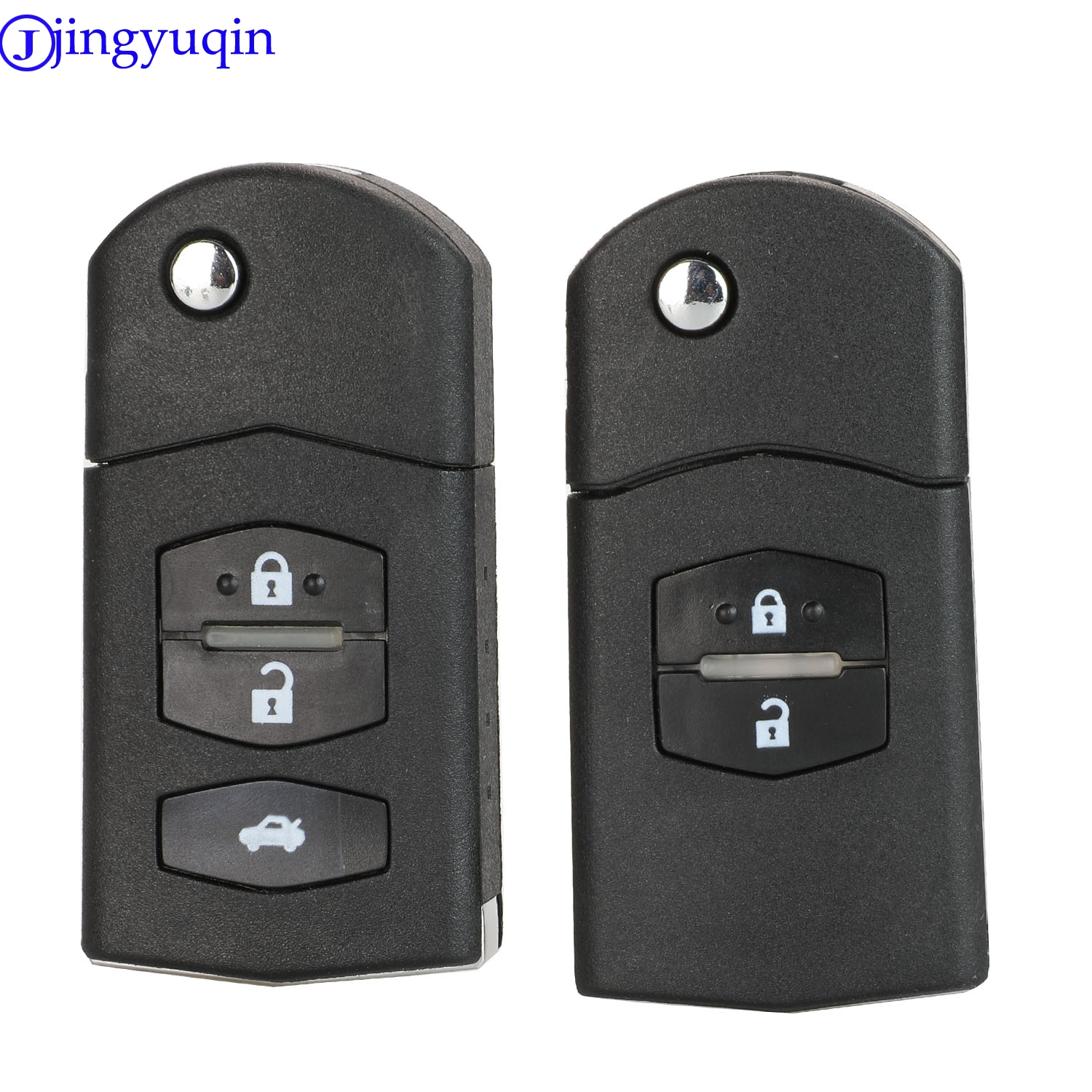 jingyuqin 2/3 Buttons Remote Folding Flip Car Key Fob Shell Cover Case For Mazda 3 5 6 Uncut Blade image