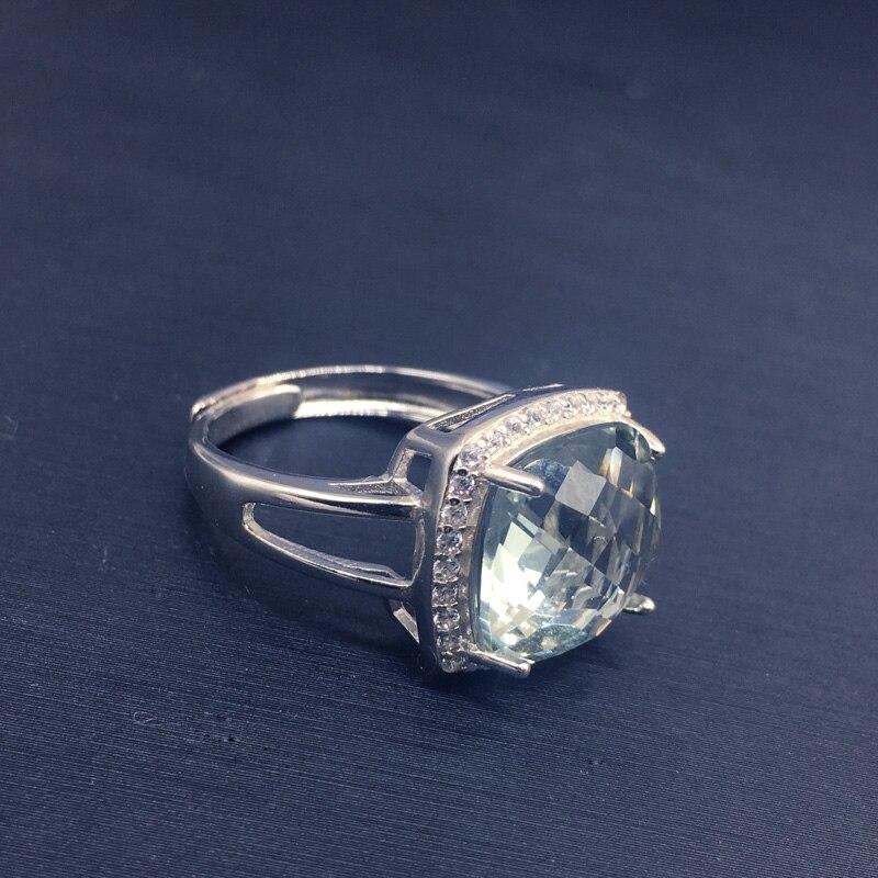 CSJ élégant vert améthyste anneau coussin cut12mm pierres précieuses anneaux sterling 925 argent fine bijoux pour femmes fille avec boîte-cadeau - 3