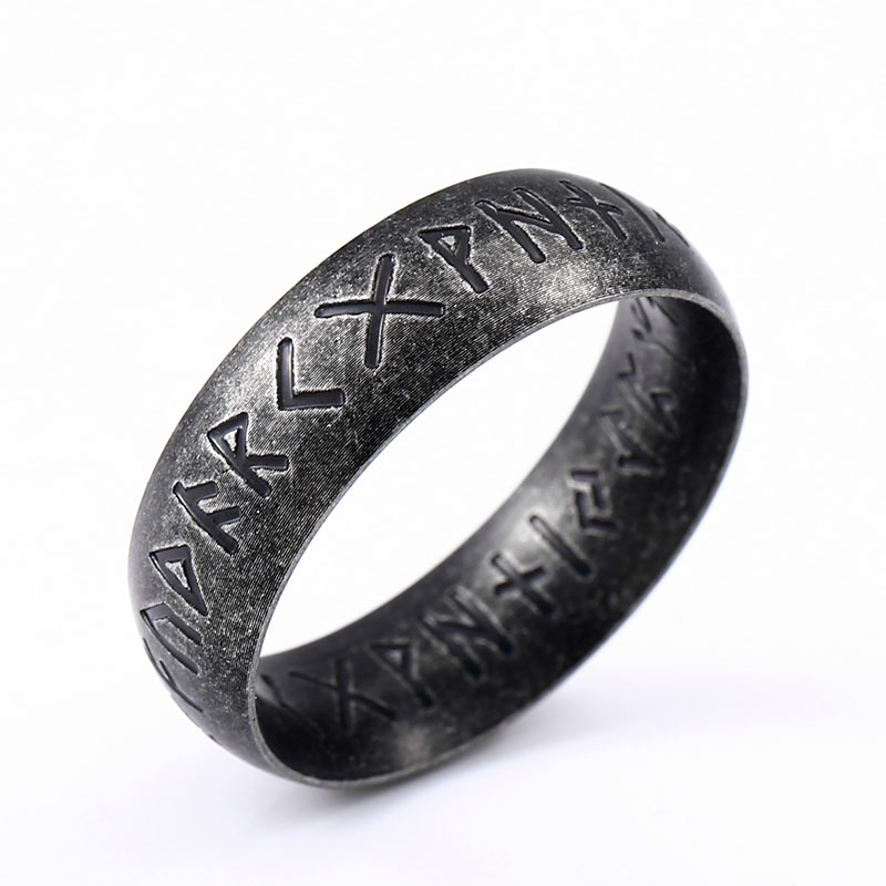 Beier 316L Stainless Steel Fashion Style MEN Double Letter Rune Words Odin Norse Viking Amulet RETRO Rings Jewelry LR-R141