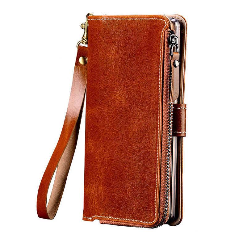 Zipper Kulit Asli Stand Pemegang Case untuk Xiaomi Redmi Note 9 Pro 9S Note 8 Pro 8T Catatan 7 Catatan 6 5 7A 6a 5a 4X8 Dompet Tas