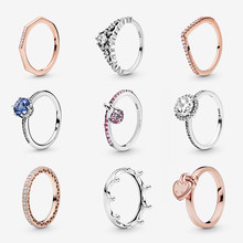 925 Sterling Silver Rings For Women Original Crown Heart Butterfly Engagement Wedding Rose Gold Crystal Ring Luxury Jewelry
