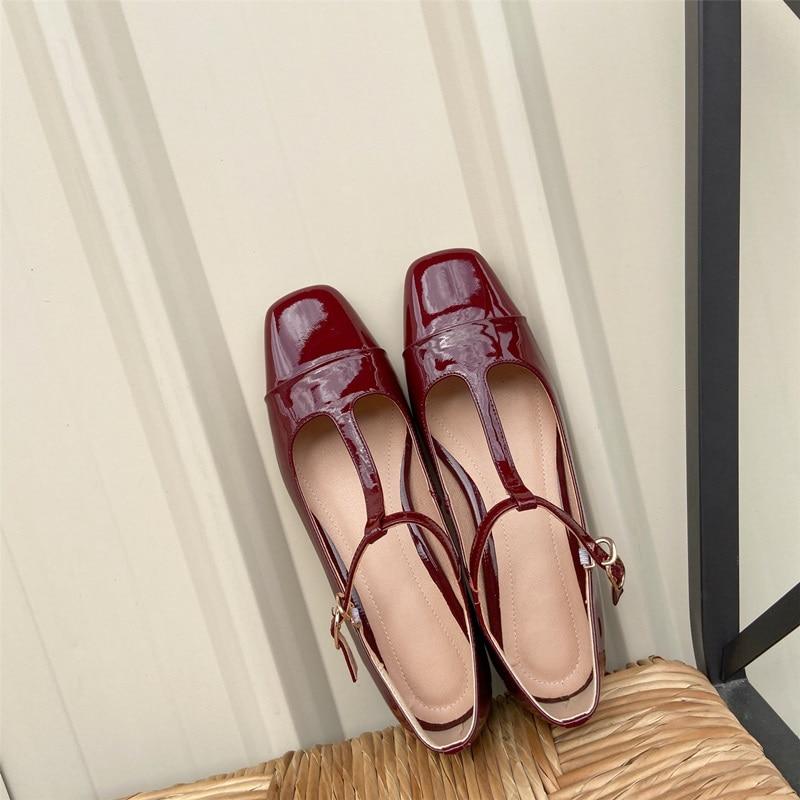 Egonnerie cuir naturel Mary Jane chaussures vin rouge en forme de T à lacets talons bas chaussures printemps mignon femme thé fête chaussures de danse lolita - 3