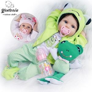 55cm Reborn Baby Dolls 2 Outfits Newborn Lifelike Girl Toys Silicone Vinyl Cotton Body Kids Birthday Gifts Playmate
