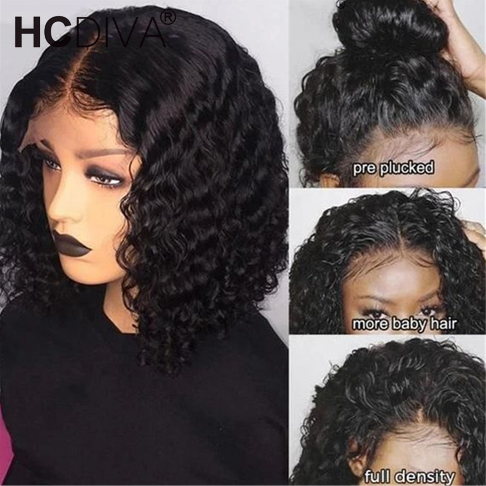 Short Bob Lace Front Wig 13*6 Curly Human Hair Wig For Black Women 150% Brazilian Remy Human Hair Wig Pre Plucked With Baby Hair