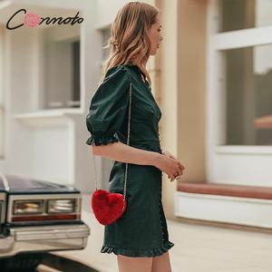 Image 5 - Conmoto élégant vert vintage robe de soirée femmes pour la nuit plissé court dames robe automne hiver 2019 robes vestidos