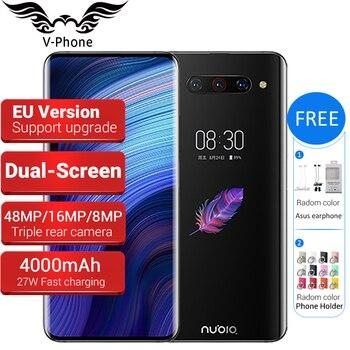 Перейти на Алиэкспресс и купить ZTE Nubia Z20 мобильный телефон с двойным экраном Snapdragon 855 plus 6,42 дюйм5,1дюйм 6 ГБ/8 ГБ 128 ГБ 4000 мАч