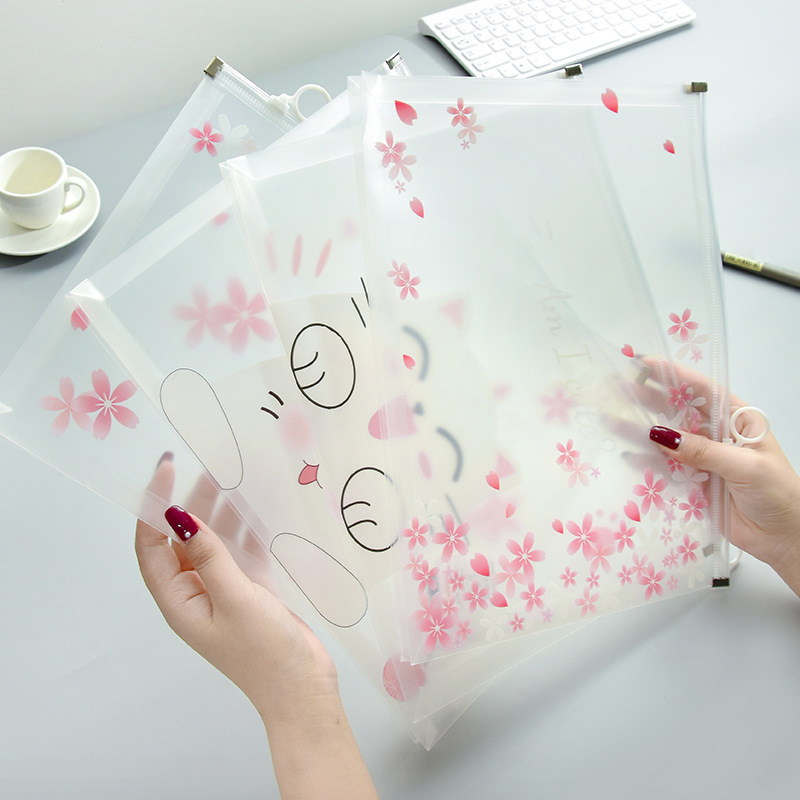 Cherry Sakura Cute Cat Transparent A4 File Bag Document Bag File Folder Stationery Filing Production
