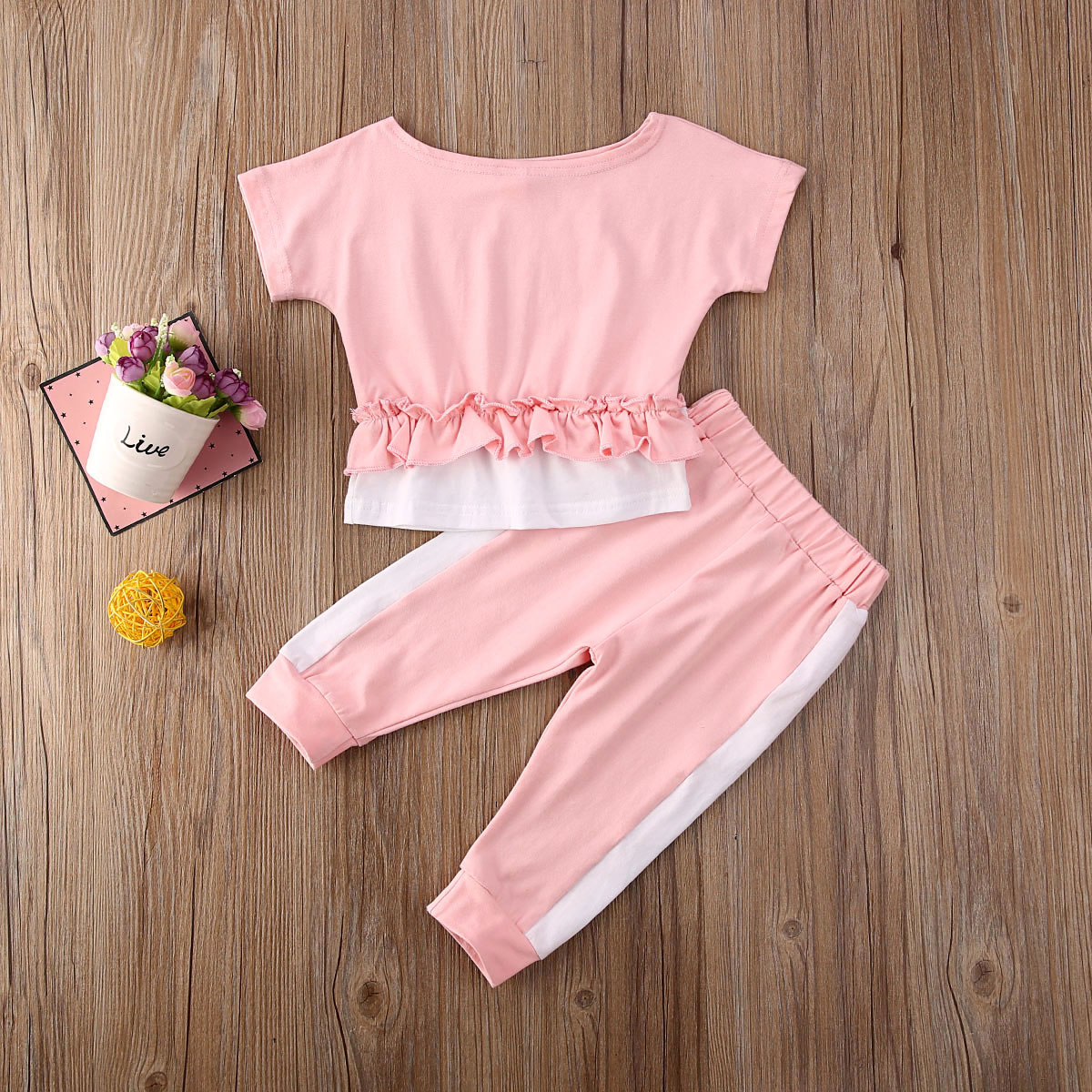 Pudcoco Toddler Baby Girl Clothes Solid Color Short Sleeve Ruffle Tops Long Pants 2Pcs Outfits Cotton Clothes Tracksuit