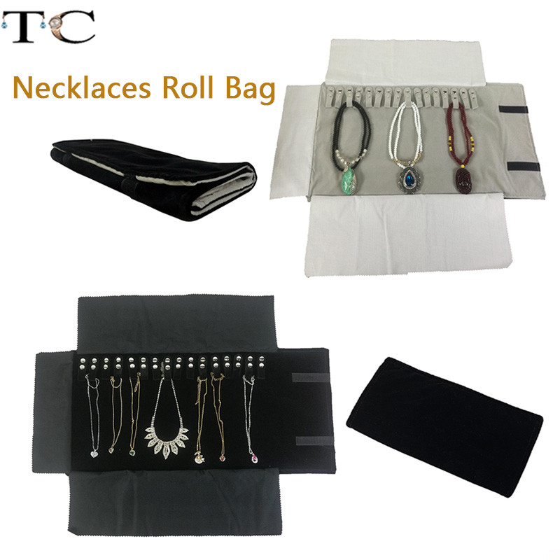 Necklace Storage Bag Jewelry Nylon Roll Organizer Bag Velvet Bracelet Carrying Display Holder Jewelry Business Pouch