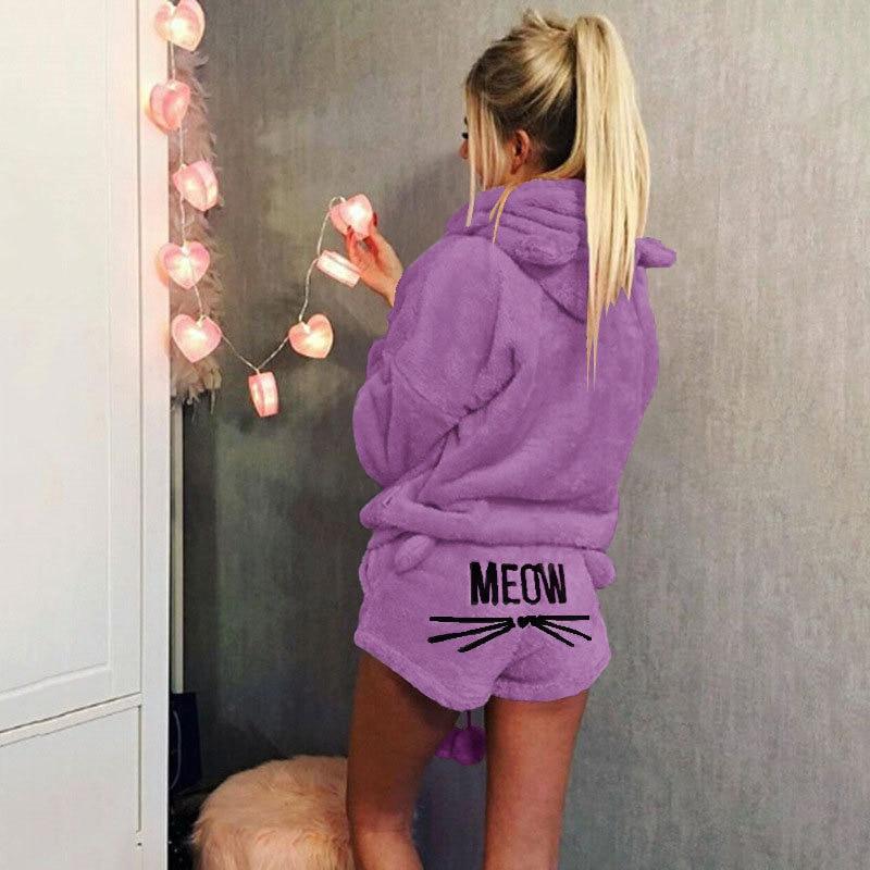 New Women Coral Velvet Suit Two Piece Autumn Winter Pajamas Warm Sleepwear Cute Cat Meow Pattern Hoodies Shorts Set High Quality