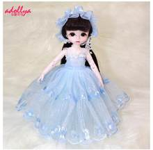 Adollya 1/6 Lace Dress For Dolls BJD Clothes Princess Skirt Doll Accessories Toys For Girls Skirt Headwear Doll Clothes Full Set(China)