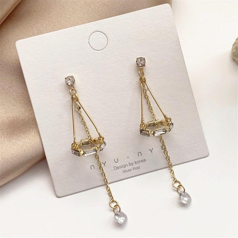 2020 Luxury Geometric Crystal Zircon Long Dangle Earrings For Women Wedding Luxury Designer Jewelry Tassel Earrings Accessories