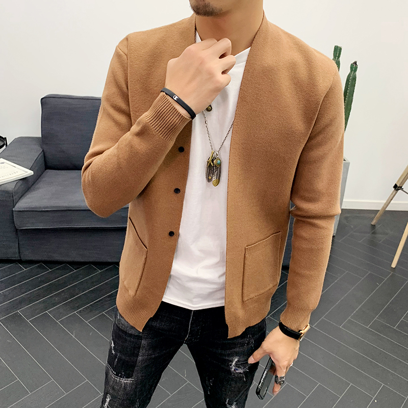 Mens Sweaters for 2019 Casual Solid Color Cardigan Men Single-breasted Decoration Wool Cardigan Men Soft Black Sweater Men