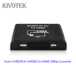 AV CVBS RCA Scart TO HDMI Converter Adapter 3-in-1 convert Svideo+Composite Video+SCART to HDMI1080P Out for STB DVD player HDTV