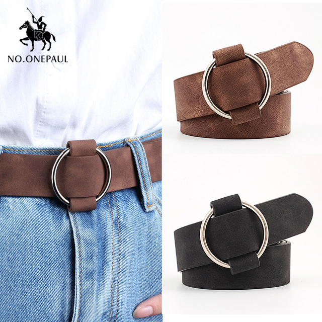 NO ONEPAUL Genuine quality ladies fashion latest needle free metal round buckle belt jeans wild