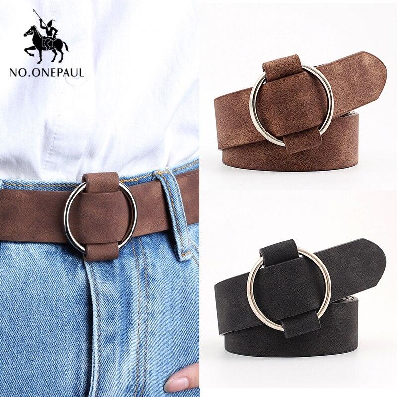 NO. ONEPAUL Genuino di qualità di modo delle signore più recenti ago in metallo rotonda fibbia della cintura dei jeans selvaggio di lusso di marca delle donne della cinghia per