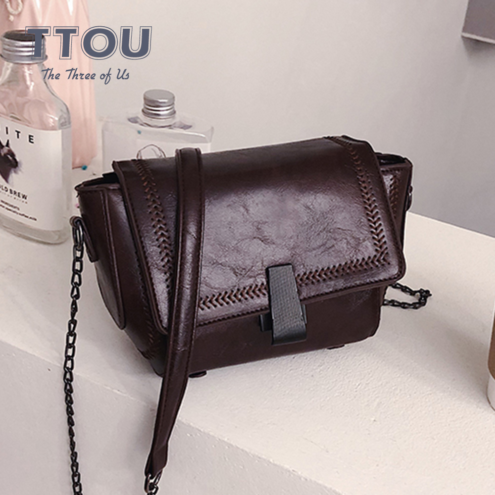 2020 Solid Color PU Leather Shoulder Bags For Women Fashion Simple Style Female Messenger Bag Casual Ladies VintageTravel  Bags