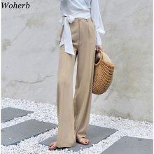 Woherb – pantalon Palazzo taille haute élastique pour femme, jambes larges, tenue de ville élégante pour le bureau, collection été 2021, 22507