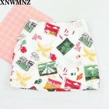 Xnwmnz винтажные Мини юбки с высокой талией мультяшным граффити