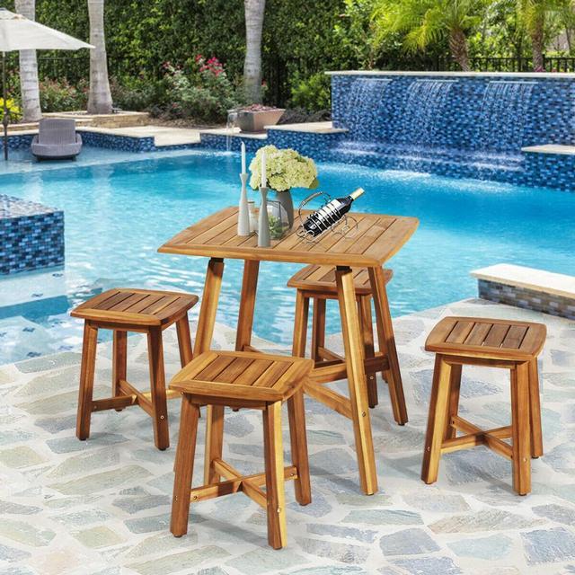 5PCS Acacia Patio Table & 4 Stools  3