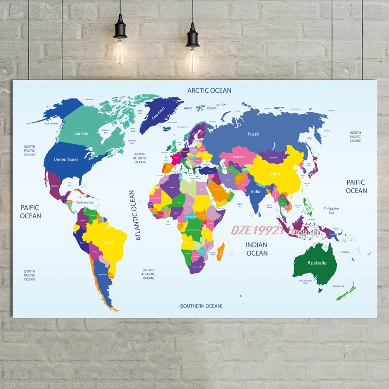1 Pcs 80x52cm Color World Map Decorative Painting Cafe Bar Background Wall Painting Mural Waterproof HD Painting Core