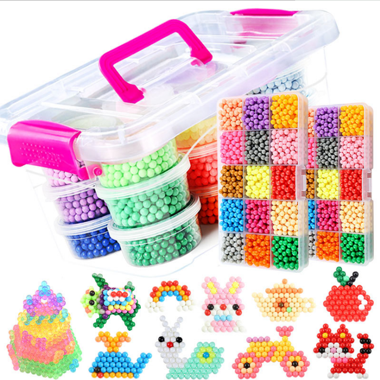 DIY 3D Bead Educational Puzzle Toys 11400pcs Water Sticky Beads Toy Hand Making For Kids Children Spell Replenish Magic Bead Toy