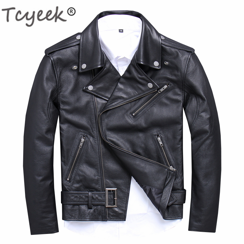 Tcyeek Real Leather Jacket Men Clothes 2019 Streetwear Mens Moto & Biker Sheepskin Coat Slim Fit 5xl Genuine Leather Coats15616