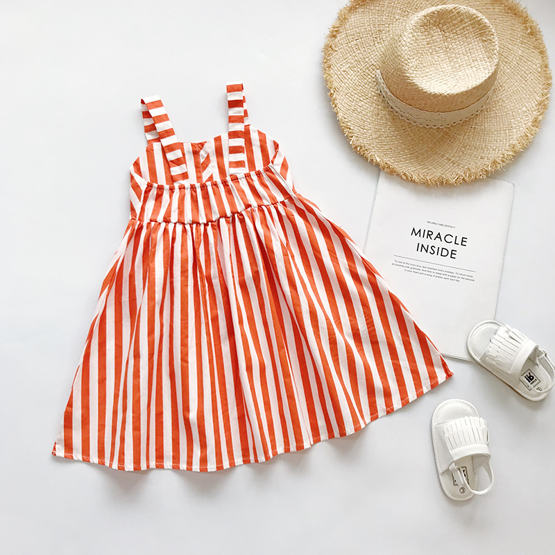 Girls Dress  Camisole  Stripe  Cotton  Casual 2020 Spring Korean Lovely