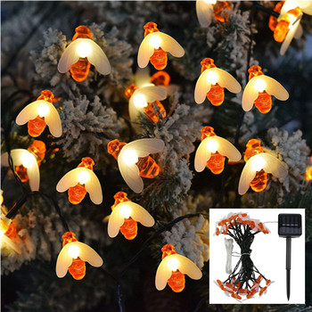 Christmas Tree Decorations Solar Powered Honey Bee Led String Lights Fairy for Home New Year Decor